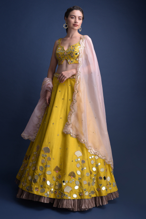 Sunset Yellow Lehenga Choli With Floral And Leaf Cut Mirror Work