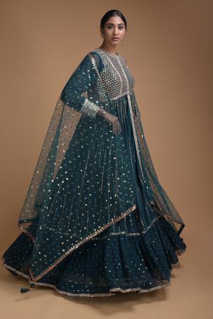 Peacock Blue Anarkali Suit With Embellished Flared Long Jacket