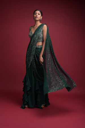 Emerald Green Ready Pleated Saree In Crepe With Cascade Frill On The Hemline