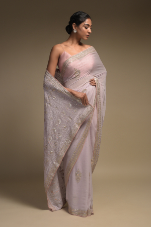 Lavender Saree In Georgette With Lucknowi Thread Embroidered Paisley Pattern On The Pallu
