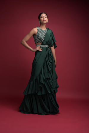 Emerald Green Saree In Crepe With Ruffled Pallu And Layered Ruffles On The Pleats