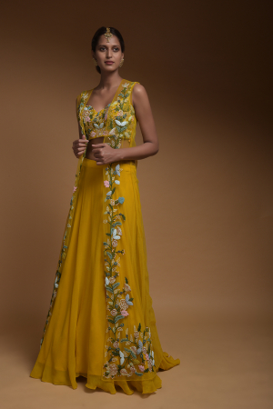 Sun Yellow Skirt, Crop Top And Jacket With 3D Flowers And Embossed Embroidery