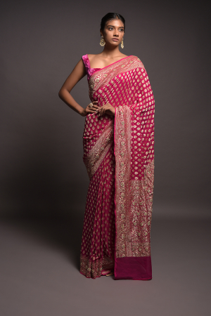 Magenta Banarasi Saree In Georgette With Weaved Buttis And Stone Work