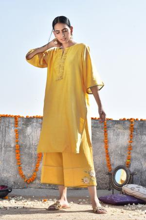 Haldi Chanderi Kurta with Jama