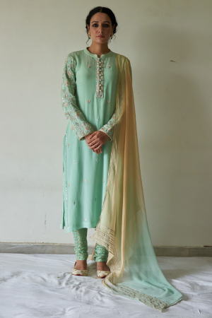 Pista kurta sleeved embroidery, chudhidar set and dupatta