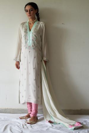 Pink and White  kurta, chudhidar and dupatta