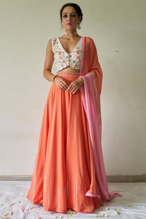 Floral blouse, lehenga and Dupatta