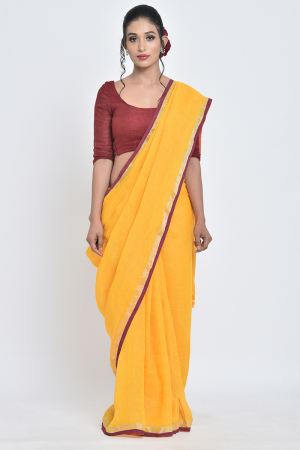 yellow genda i handwoven linen sari