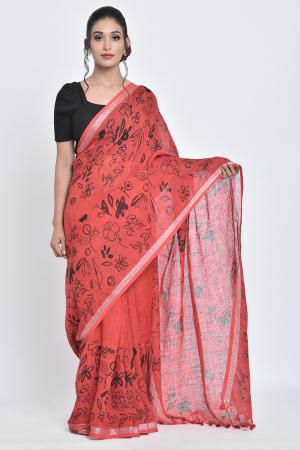 red & black gulmohar i handpainted linen sari