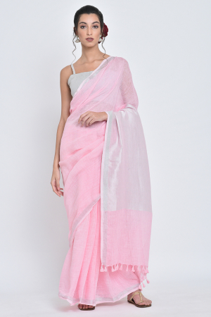 pink savni i handwoven pink linen sari