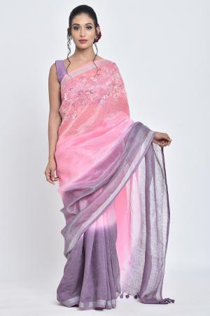 purple & pink bahar | hand embroidered linen sari