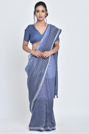 indigo neel i handwoven indigo linen sari