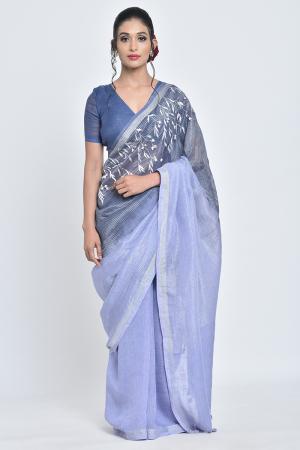 indigo ketki i hand-embroidered linen sari