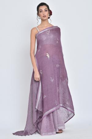 purple kumud i hand-embroidery linen sari