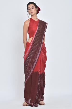 red & maroon gudhal i handwoven dual shade linen sari