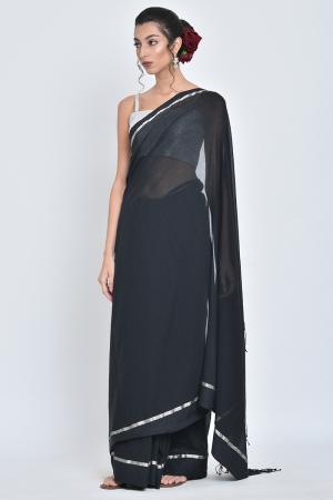 black shiuli i handwoven organic cotton sari