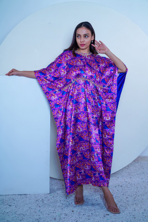 Purple Patola print kaftan in Mashru