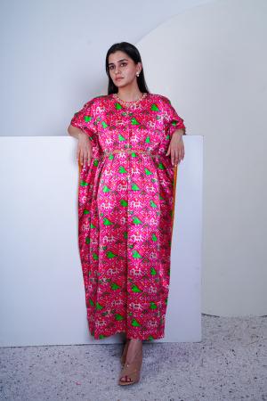 Pink Patola print kaftan in Mashru