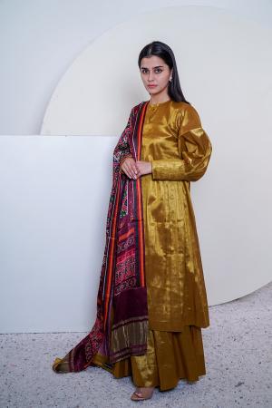 Gold Tissue tunic and sharara with patola dupatta