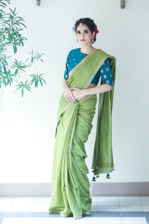 Green chanderi embroidered saree