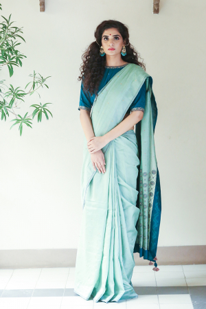 Turquoise chanderi embroidered saree