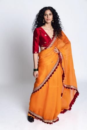 Orange and maroon Baghpat  Handwoven Organza Silk Sari