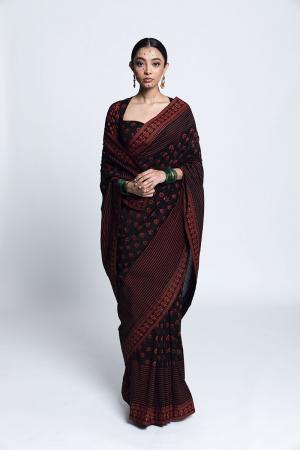 Black and red floral print Unai Printed Chanderi Silk Sari