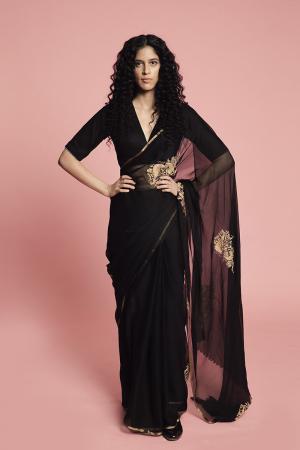 Black Tapi French Chiffon Sari