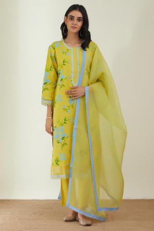 Yellow Cotton Mal & organza silk dupatta the springlike kurta set