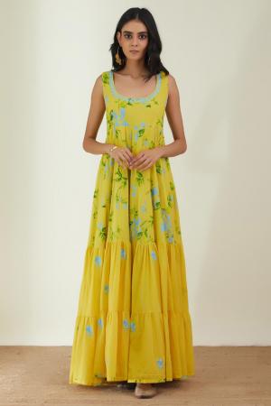 Yellow Cotton Mal the rainy Sunday dress