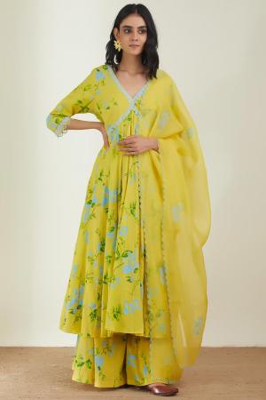 Yellow Cotton Mal organza silk the day dream  kurta set
