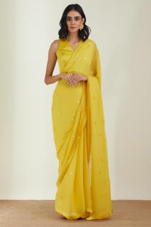 Yellow Chiffon & satin silk the shining  sun saree