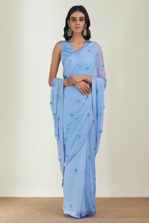 Powder Blue Chiffon & satin silk  the dusky cloud saree