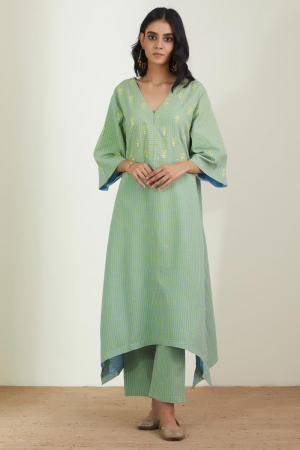 Mint Green Cotton Mal twinkling daffodils  kurta set