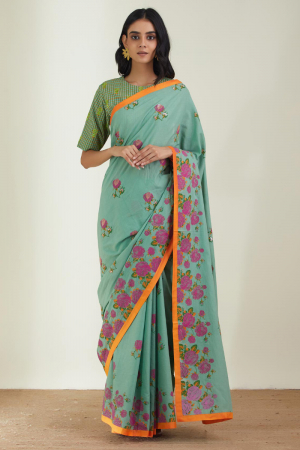 Mint Green Cotton Mal the old garden roses saree