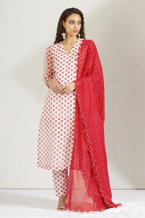 Red and white gul batasha kurta set