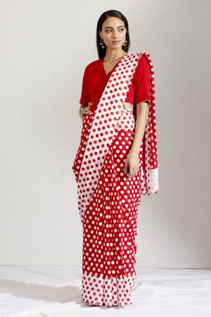 Red and white laal batasha saree and blouse