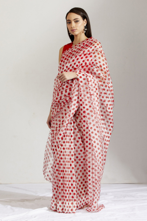 Red and white sherbet batasha saree and blouse