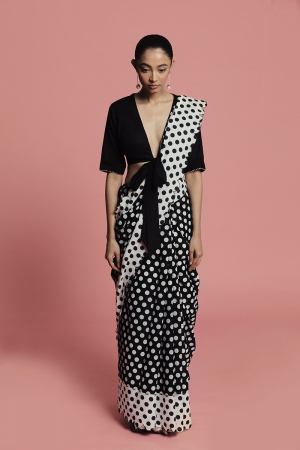 Black and white gud cotton mal saree and blouse