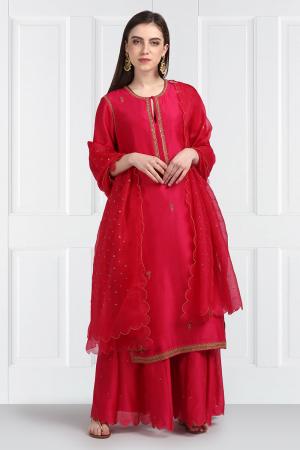 Silk Chanderi Kurta Gharara set
