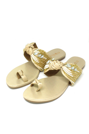 Embellished Bow Flats in Gold