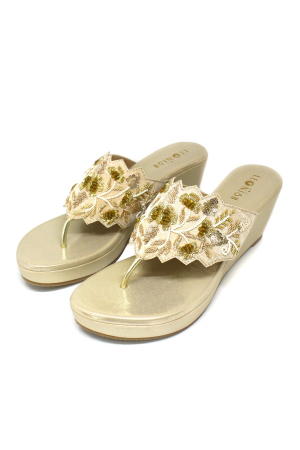Gold Zardosi Pearl Wedges