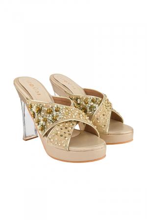 Criss Cross Acrylic Heels in Gold