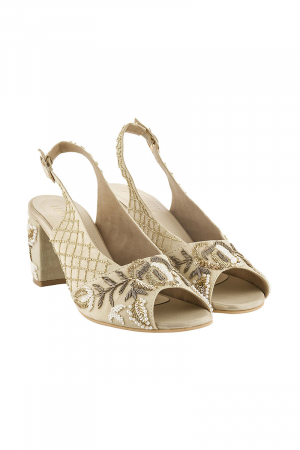 Embroidered Peep Toes in Light Gold