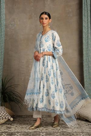 Blue and white Tahira Neel Kurta set