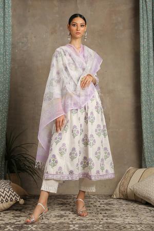 Lavender and white Tahira Kurta set