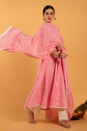Pink Hand Printed Cotton Gulaab Khari Kalidaar Kurta set