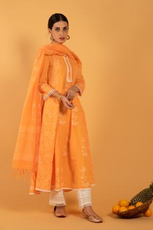 Orange Hand Printed Cotton Narangi Khari Kalidaar Kurta set