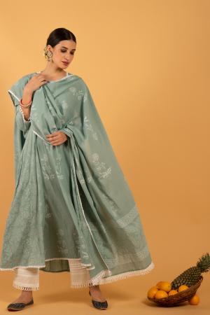 Teal Hand Printed Cotton Harita Khari Kalidaar Kurta set