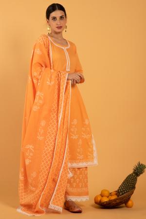 Orange Hand Printed Cotton Narangi Khari Kurta set